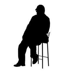 silhouette an old man sitting on a chair vector image