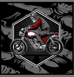 Skull wearing a helmet riding an old motorcycle vector