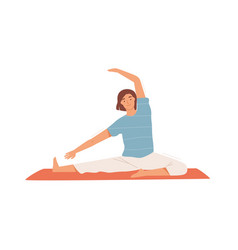 Smiling woman doing stretching exercise on mat vector