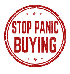Stop panic buying grunge rubber stamp vector