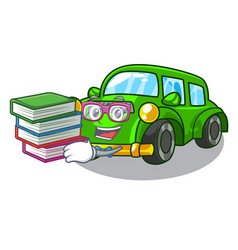 Student with book classic car toys in cartoon vector