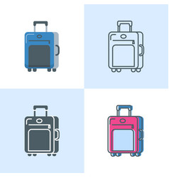 suitcase icon set in flat and line styles vector image