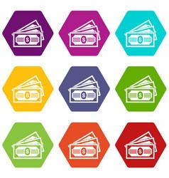 three dollar bills icon set color hexahedron vector image