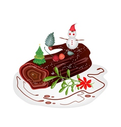 Traditional Christmas Cake or Yule Log Cake vector image