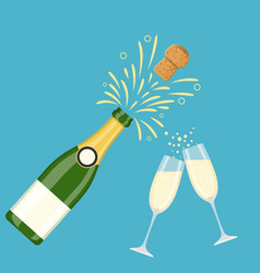 two champagne glasses with champagne bottle vector image