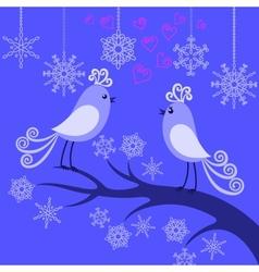 Two winter birds in love vector image