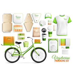 vegetarian food packaging set vector image
