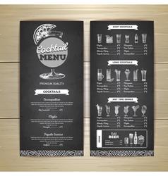 Vintage chalk drawing cocktail menu design vector image