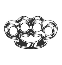 Vintage gangster metal brass knuckles template vector
