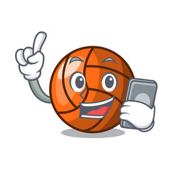 with phone volleyball character cartoon style vector image