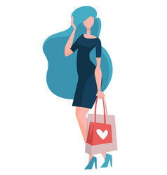 woman on shopping bags or packs buying clothes vector image