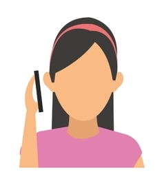Woman on the cellphone icon vector