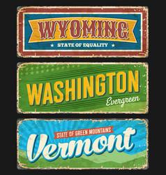 wyoming washington and vermont usa states plates vector image