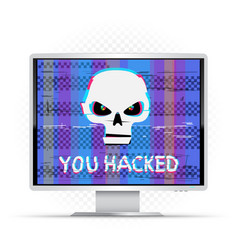 you hacked text on white monitor vector image