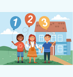 young children learning their numbers vector image