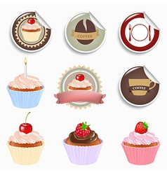 Cupcake And Labels Set vector image vector image