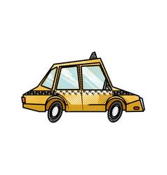 drawing taxi car public service transport design vector image