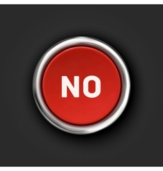 No button 3d red glossy metallic icon vector