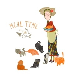 Old woman with her cats vector image