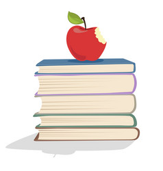 red apple on a stack of books vector image vector image