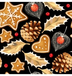 Seamless gingerbread and holly vector image