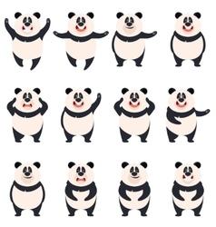 Set of flat panda icons vector image