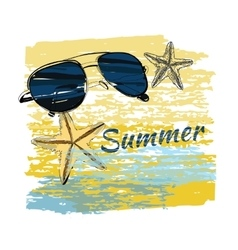 background summer with lettering shales on sand vector image vector image