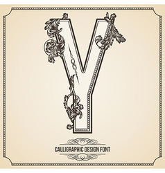 Calligraphic font Letter Y vector image vector image