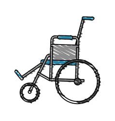 color crayon stripe cartoon wheel chair medical vector image