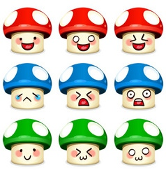mushrooms icon set vector image vector image