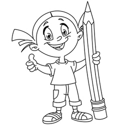 outlined girl holding big pencil vector image