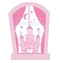 pink princess castle vector image