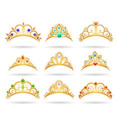 princess golden tiaras with diamonds vector image vector image
