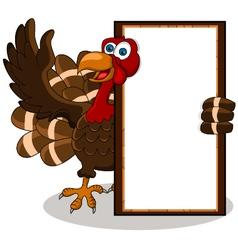 turkey cartoon with blank board vector image