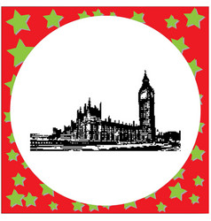 black 8-bit big ben clock tower and parliament vector image vector image