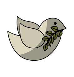 Cute bird with olive branch isolated icon vector
