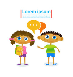 little girl and boy talking hold stack of books vector image