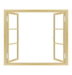 open wooden window vector image