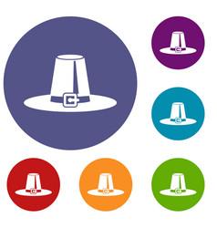 pilgrim hat icons set vector image
