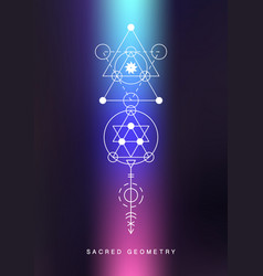 Sacred geometry sign alchemy linear art vector