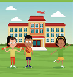 school children sport image vector image