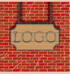 tavern signboard template on brick wall vector image vector image