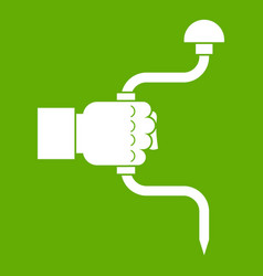 vintage hand drill in man hand icon green vector image