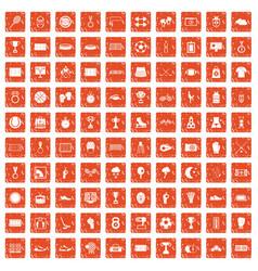 100 stadium icons set grunge orange vector image vector image