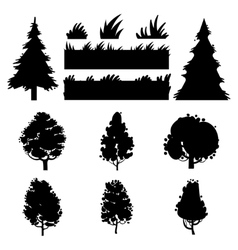 Black trees and grass silhouettes vector image vector image