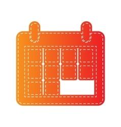 Calendar sign Orange applique vector image