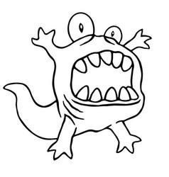 cartoon monster big head vector image vector image