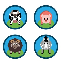 farm animals Horse sheep pig and cow on the grass vector image vector image