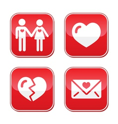 Love Valentines Day buttons set vector image vector image