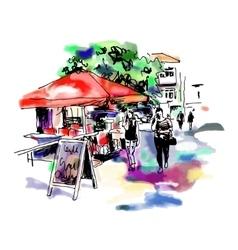 original digital sketch watercolor of Kyiv street vector image vector image